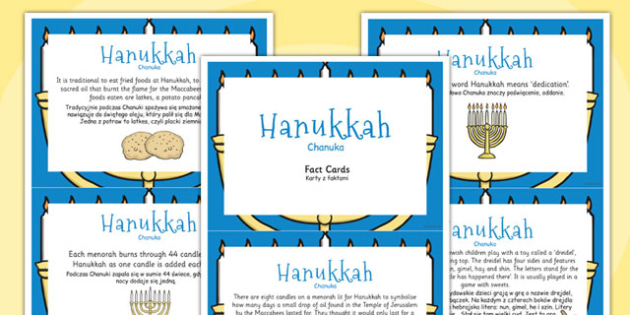 Hanukkah Display Fact Cards Polish Translation - Polish, Judaism, Jewish Festival, menora, light, information, facts,