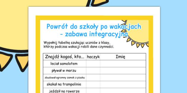 Zabawa integracyjna Powrot do szkoly do polsku - dzieci, szkola , Polish