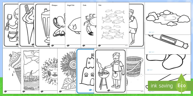 summer colouring resource pack adult colouring themes art display ideas