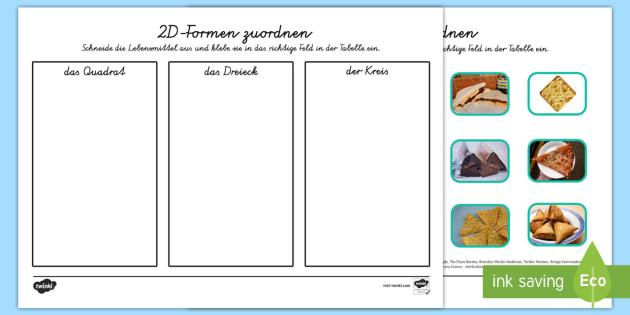 2D-Formen Lebensmittel Sortierung German - german, food, 2d shape, sorting, activity