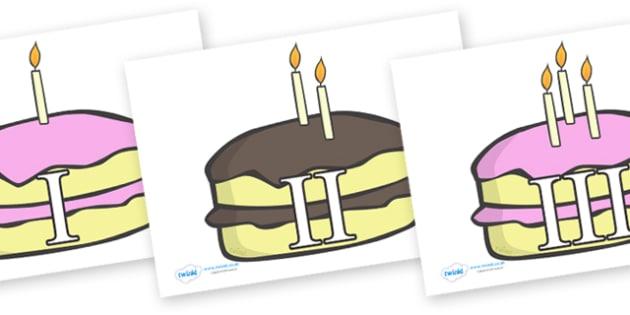 0-10 Roman Numerals (Birthday Cakes) - Display numbers, 0-10, roman numerals, numbers, display numerals, display lettering, display numbers, display, cut out lettering, lettering for display, display numbers