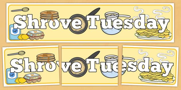 Shrove Tuesday Display Banner - shrove Tuesday, display, banner