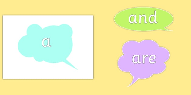 100 High Frequency Words on Speech Bubbles - DfES Letters and Sounds, Letters and Sounds, Letters and sounds words, High frequency words, hfw,