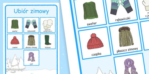 Plakat ze słownictwem Ubiór zimowy po polsku - zima, ubrania