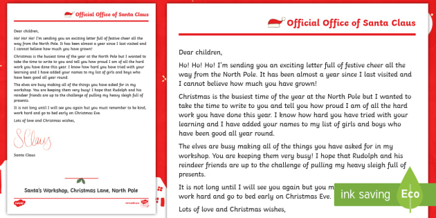 eyfs ks1 a reply from santa letter father christmas xmas