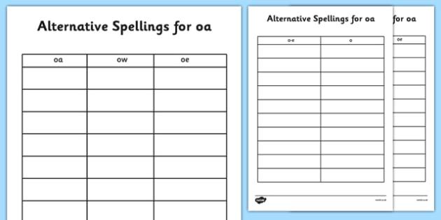 Alternative Spellings for oa Table Worksheets - alternative spellings for oa, table worksheet pack, table worksheet, oa worksheet