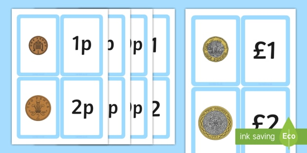 New British (UK) Coin Value Matching Card Activity - money,