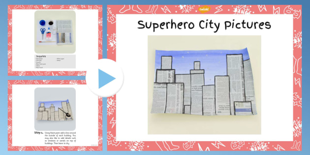 Superhero City Picture Craft Instructions PowerPoint - superhero