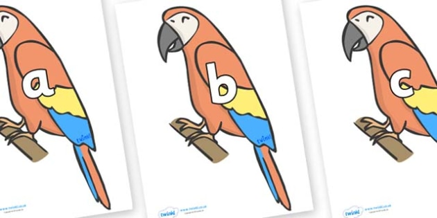 Phase 2 Phonemes on Parrots - Phonemes, phoneme, Phase 2, Phase two, Foundation, Literacy, Letters and Sounds, DfES, display