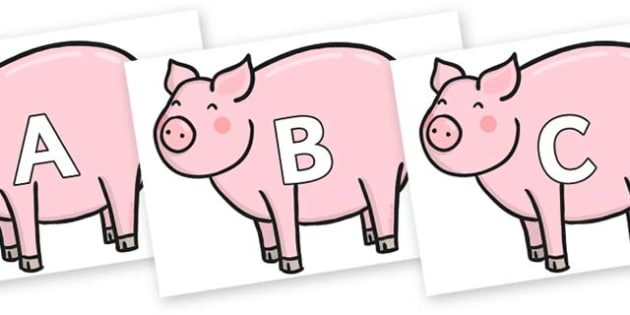 A-Z Alphabet on Chinese New Year Pig - A-Z, A4, display, Alphabet frieze, Display letters, Letter posters, A-Z letters, Alphabet flashcards