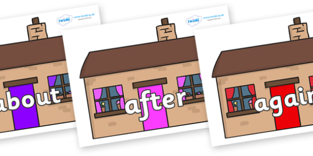 KS1 Keywords on Houses - KS1, CLL, Communication language and literacy, Display, Key words, high frequency words, foundation stage literacy, DfES Letters and Sounds, Letters and Sounds, spelling