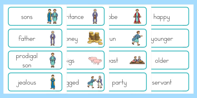 The Prodigal Son Word Cards - usa, america, The Prodigal Son, son, father, prodigal, the lost son, lost, word card, flashcards, cards, coming back, father and son, jealous, pigs, inheritance, return, party, feast
