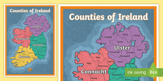 Map Of Ireland Gaeilge.Counties Of Ireland Display Poster Irish Gaeilge Counties Ireland