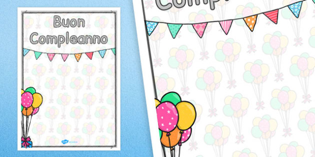 Italian Happy Birthday Posters 2xA4 - italian, display, posters
