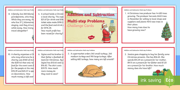 Addition And Subtraction Multi Step Word Problems