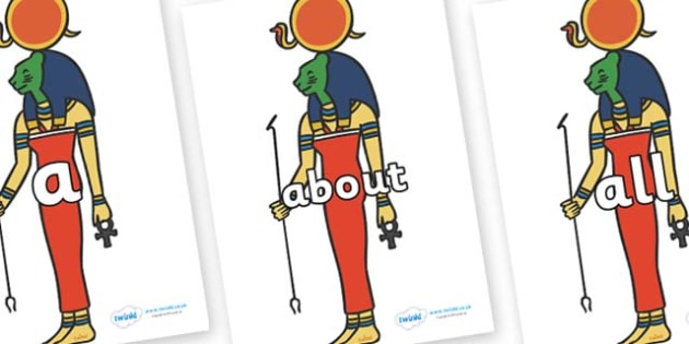 100 High Frequency Words on Egyptian God - High frequency words, hfw, DfES Letters and Sounds, Letters and Sounds, display words