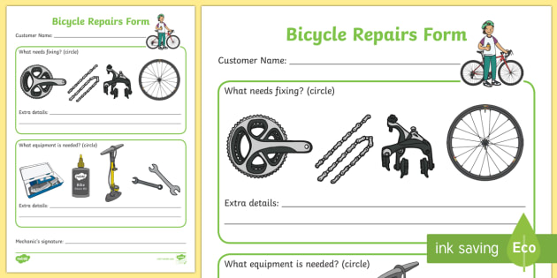 Bicycle Repair Shop Repairs Form - Bike repair, bicycle