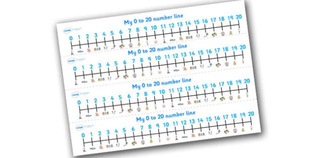 Seaside Number Line (0-20) - Seaside, Summer, Maths, Math, numberline, numberline display, holidays, water, tide, waves, sand, beach, sea, sun, holiday, coast