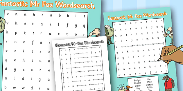 Word Search to Support Teaching on Fantastic Mr Fox - fantastic mr fox, wordsearch, game