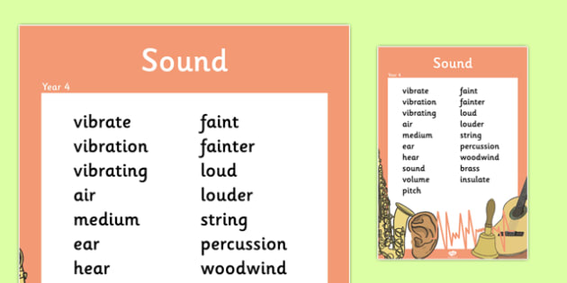 Year 4 Sound Scientific Vocabulary Poster - posters, science