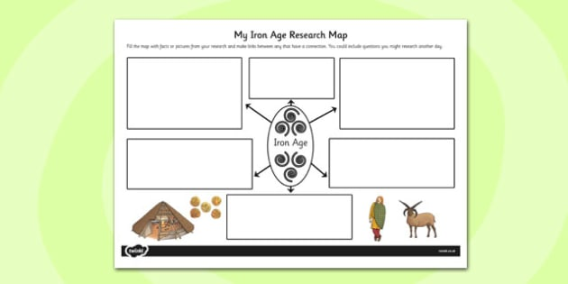 The Iron Age Themed Research Map - iron age, research map, map