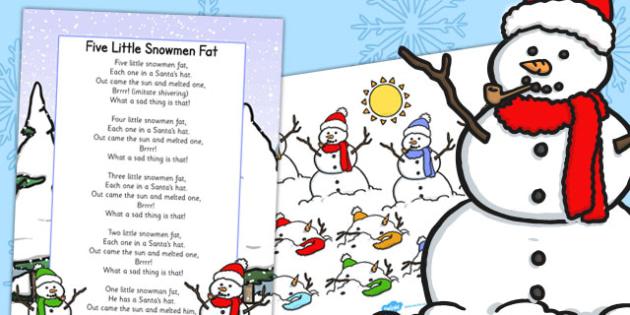 Five Little Snowmen Fat Lyric Sheet and Props - song, props, snowman