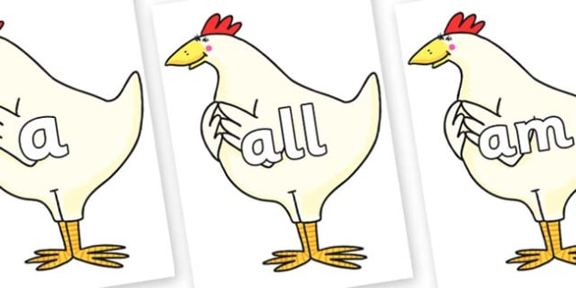 Foundation Stage 2 Keywords on Hullabaloo Chicken to Support Teaching on Farmyard Hullabaloo - FS2, CLL, keywords, Communication language and literacy,  Display, Key words, high frequency words, foundation stage literacy, DfES Letters and Sounds, Let