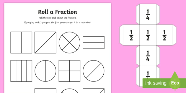 year 1 roll a fraction worksheet worksheet activities fractions. Black Bedroom Furniture Sets. Home Design Ideas