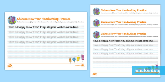 chinese new year cursive handwriting practice ks2. Black Bedroom Furniture Sets. Home Design Ideas