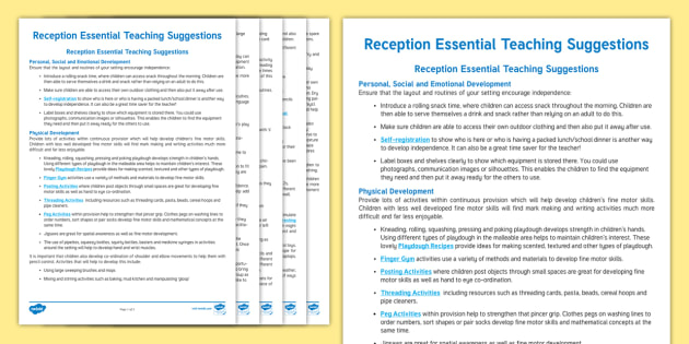 Reception Essential Teaching Suggestions