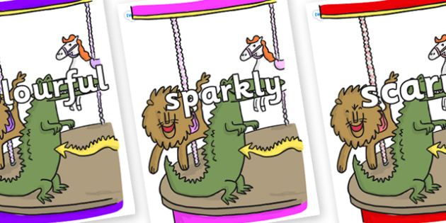 Wow Words on Trick 3 to Support Teaching on The Enormous Crocodile - Wow words, adjectives, VCOP, describing, Wow, display, poster, wow display, tasty, scary, ugly, beautiful, colourful sharp, bouncy