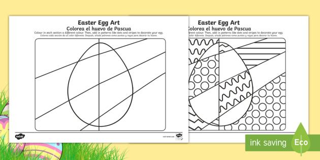 NEW Easter Egg Art Activity Sheet English Spanish