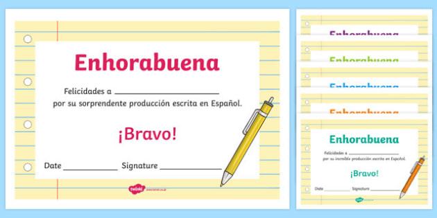 Spanish End of Year Written Work Award Certificate
