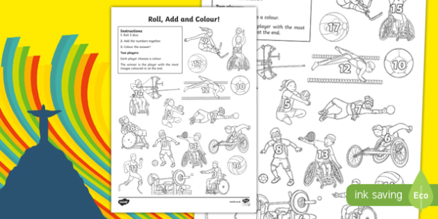 Paralympics Three Dice Addition Roll and Colour Activity Sheet, worksheet