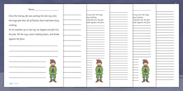 Santa's Workshop Story Starter Worksheets - christmas, literacy
