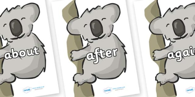 KS1 Keywords on Koalas - KS1, CLL, Communication language and literacy, Display, Key words, high frequency words, foundation stage literacy, DfES Letters and Sounds, Letters and Sounds, spelling