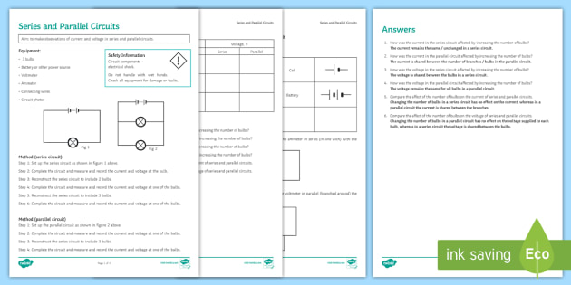 Series And Parallel Circuits Investigation Instruction Sheet Print Out