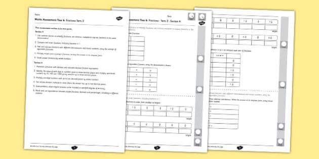 Year 6 Maths Assessment Term 2 Fractions - year 6, maths, assessment, term 2, fractions