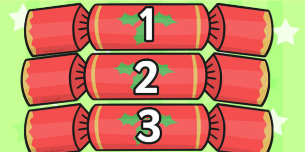 Numbers 0-30 on Christmas Crackers - Christmas, xmas, cracker, advent, nativity, santa, father christmas, Jesus, tree, stocking, present, activity, cracker, angel, snowman, advent , bauble, Foundation Numeracy, Number recognition, Number flashcards,