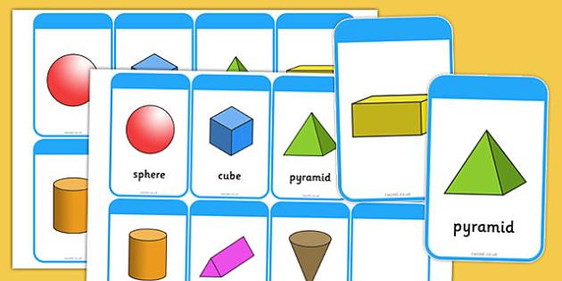 3D Shape Flashcards (inc. Shape Names) - 3D Shape names, Shape Flashcards, Shape Pictures, Shape Words, 3D flashcards, numeracy,geometry,shapes,3d, flash cards