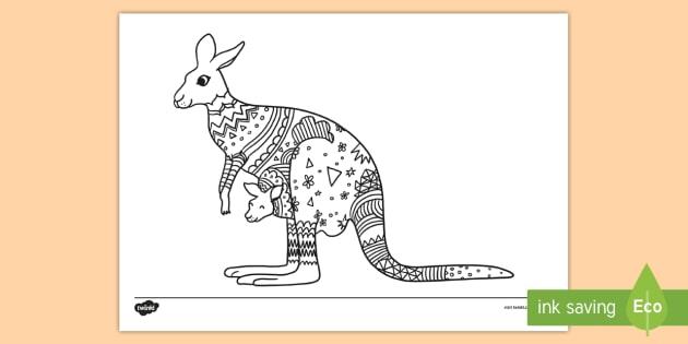 Kangaroo Mindfulness Colouring Page