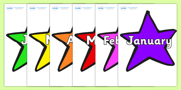 Months of the Year on Stars (Multicolour) - Months of the Year, Months poster, Months display, display, poster, frieze, Months, month, January, February, March, April, May, June, July, August, September
