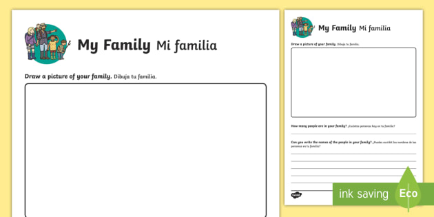 All About My Family Activity Sheet English/Spanish - Ourselves, me, myself, family, families, people, drawing, writing, names, all about me, all about my