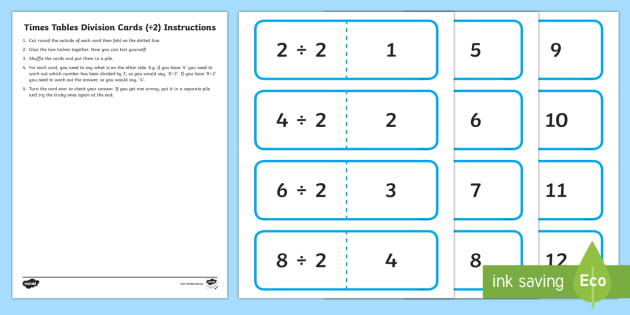 2 Times Table Division Cards - australia, division, cards, times