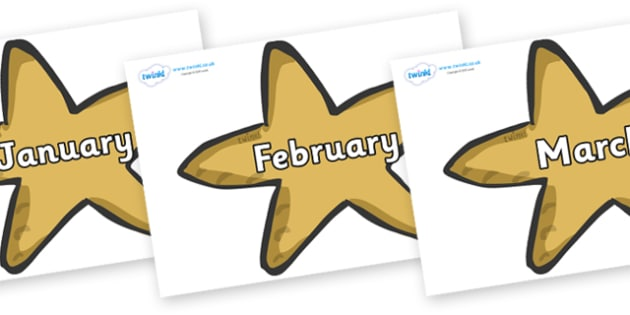 Months of the Year on Starfish - Months of the Year, Months poster, Months display, display, poster, frieze, Months, month, January, February, March, April, May, June, July, August, September