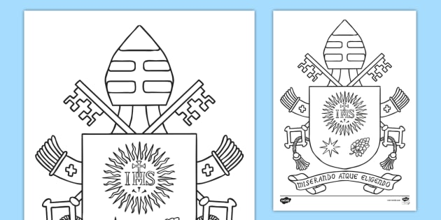the coat of arms of pope francis colouring worksheet activity sheet pope francis