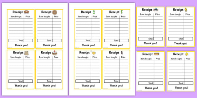 nursery rhyme shop role play receipts nursery rhyme shop