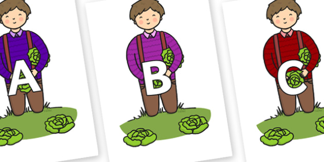 A-Z Alphabet on Dad Picking Lettuces - A-Z, A4, display, Alphabet frieze, Display letters, Letter posters, A-Z letters, Alphabet flashcards