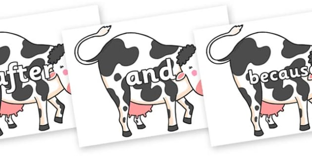 Connectives on Hullabaloo Cow to Support Teaching on Farmyard Hullabaloo - Connectives, VCOP, connective resources, connectives display words, connective displays