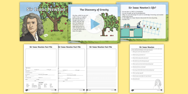 Sir Isaac Newton Gravity Task Setter Powerpoint And Worksheets